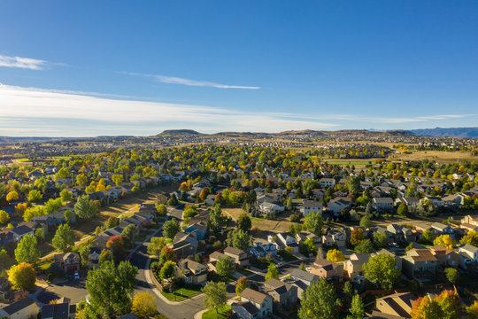 aerial view of urban sprawl in Castle Rock, Colorado, outside of Denver