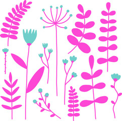Vector pink and blue flowers and leafs set