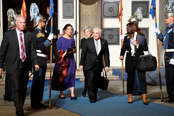 U.S. film director Martin Scorsese and Mexican journalist Alma Guillermoprieto leave the Campoamor theatre after receiving the 2018 Princess of Asturias award from Spain's King Felipe, in Oviedo