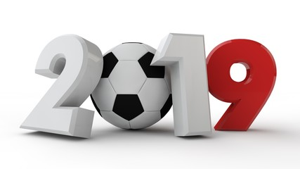 3D illustration of 2019 date, with a soccer ball. The idea for the calendar, 3D rendering of the world Cup, the victory date.