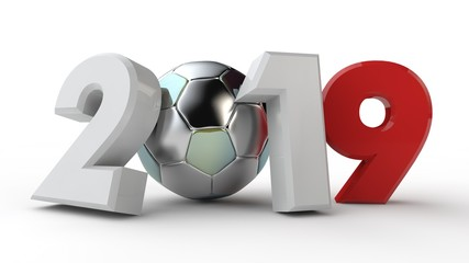 3D illustration of 2019 date, with a soccer ball. The idea for the calendar, 3D rendering of the world Cup, the victory date. The silver ball prize for the victory.