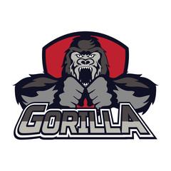 gorilla logo on white background,  vector illustration