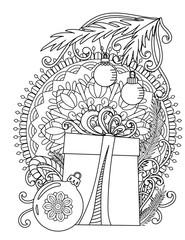 Christmas mandala coloring page. Adult coloring book. Holiday gift, balls and ribbons. Hand drawn vector illustration.