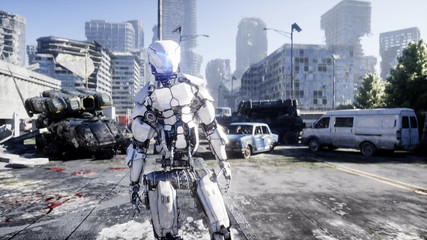 Military robot in destroyed city. Future apocalypse concept. 3d rendering.