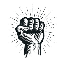Raised up clenched fist. Sketch vector illustration