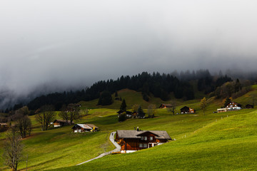 Wall Mural - Rural houses chalets in the Swiss Alps against a rainy sky