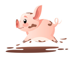 Cute pig. Cartoon character design. Running little pig in mud. Flat vector illustration isolated on white background