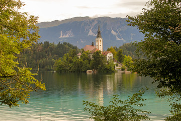 Bled lake in Slovenia with small island and church