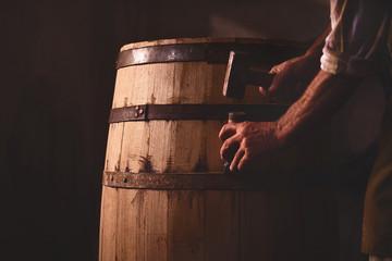 Wooden Barrels in a cooperage, barrel workshop Fototapete
