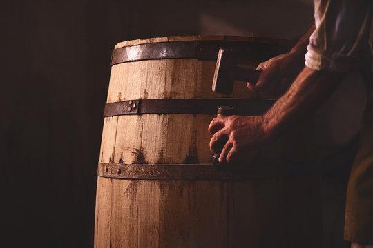 Wooden Barrels in a cooperage, barrel workshop
