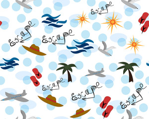 Cute holiday seamless. Summer escape. Vector illustration of fun summertime. Colorful and bright objects.