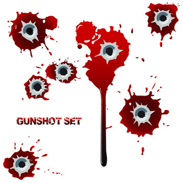 Set of bullet holes with blood in walls or body. Bloody stains, spatter and smudges. Vector illustration. Isolated.