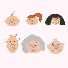 Set of characters in cartoon flat style. Characters, the cycle of life, stages of growing up from baby to man.