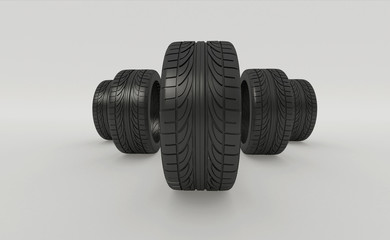 3d rendering five tires rolling on a white background