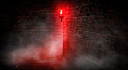 A dark street, a red lantern, a brick wall, smoke, a corner of the building, a lantern shining. Night scene, club neon light. Night city and neon light.