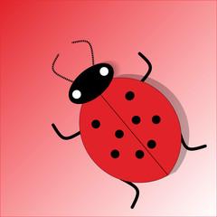 Ladybag isolated on red background. Wild ladybird, beetle. Vector flat illustration