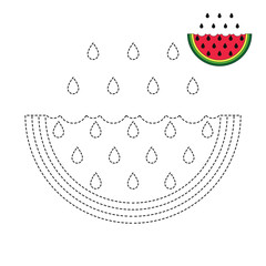 drawing worksheet for preschool kids with easy gaming level of difficulty. Simple educational game for kids. Illustration of watermelon for toddlers