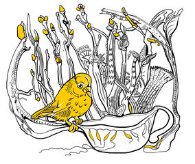 Bird on a cup with flowers. Outline drawing. Coloring for adults.