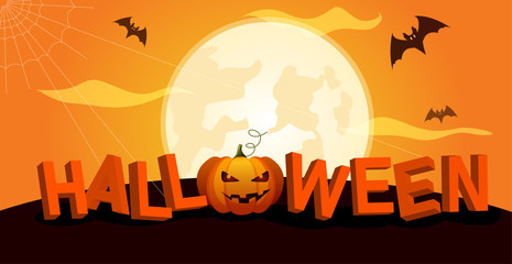 Orange Halloween banner with full moon, bats and pumpkin.