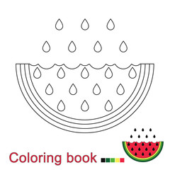 illustration of watermelon for coloring book for children