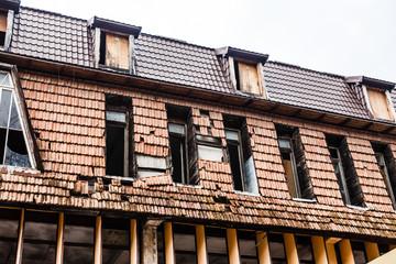 Damaged cottage building
