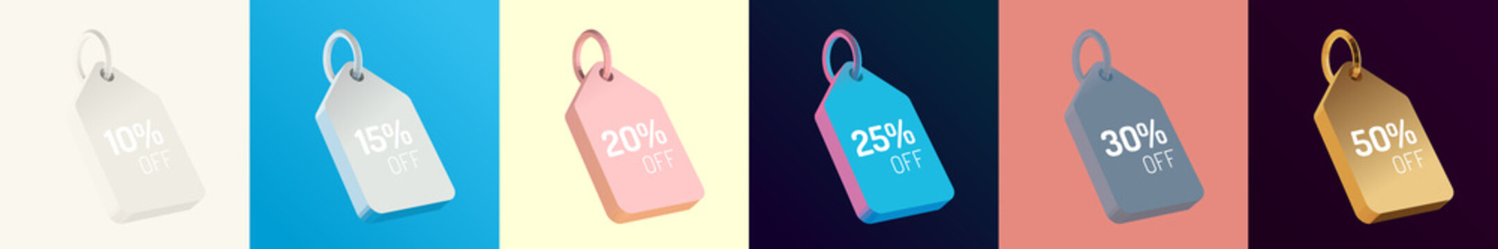 Price Tag Set. White, Blue, Pink, Grey, Gold. Isolated Vector 3D Rendering