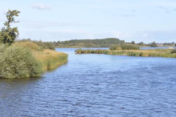 het wijde water van natuurgebied De Alde Feanen van het Fryske Gea in Friesland