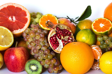 Fresh fruit mix closeup.