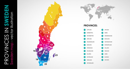 Vector map of Sweden province rainbow colors