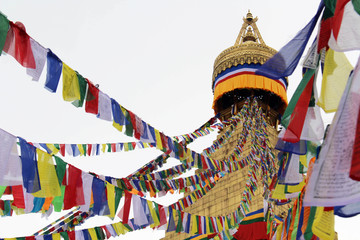 The colorful prayer flags of Boudhanath Stupa in Kathmandu