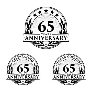 65 Years Anniversary Set. 65th Celebration Logo Collection. Vector and illustration.