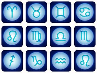 12 signes du zodiaque bleu