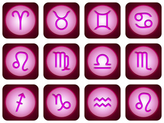 12 signes du zodiaque rose