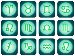 12 signes du zodiaque turquoise