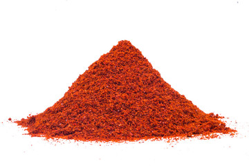 red chili powder isolated on white background