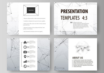 Set of business templates for presentation slides. Abstract vector layouts in flat design. Compounds lines and dots. Big data visualization in minimal style. Graphic communication background.