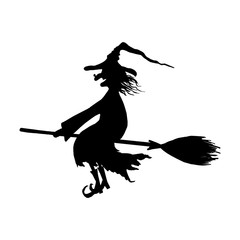 Silhouette of halloween smiling wicked witch on broomstick