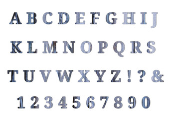 Wooden English alphabet and numbers. White isolate