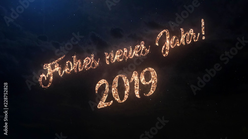 2019 happy new year greeting text in german with particles and sparks on black night sky