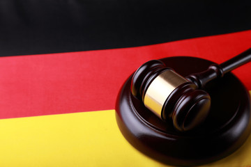 Gavel on the flag of Germany