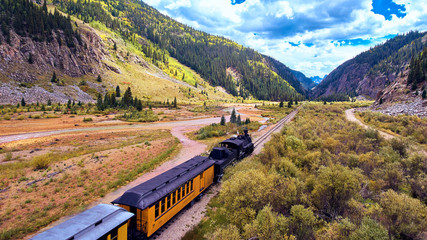 Aerial Old Train in Silverton Mining Town Coal