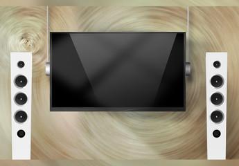 Modell eines modernen schlanken Fernsehbildschirms