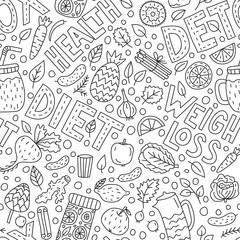 Detox doodle seamless pattern