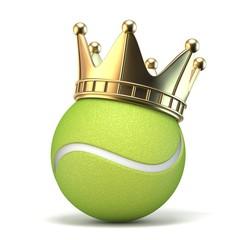Golden crown on tennis ball 3D