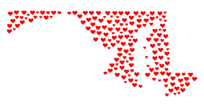 Mosaic map of Maryland State formed with red love hearts. Vector lovely geographic abstraction of map of Maryland State with red romantic symbols. Romantic design for relations illustrations.