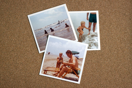 Old Photographs from the Early 1970's of Family at a Beach