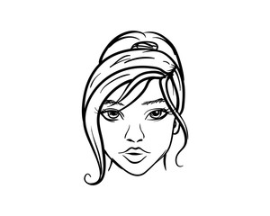 Line Art Hand Drawn Vector Beautiful Face Girl or Women with Hair Tied Back Sign Symbol Icon Logo Template Design Inspiration