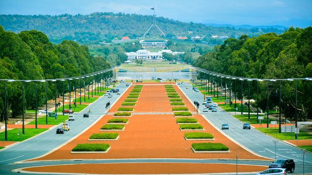 Anzac Boulevard - View from Australian War Memorial, looking toward the Australian Parliament Building in the Far Distance, Canberra, Australia