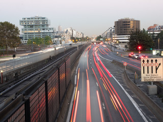 Long Exposure View of La Defense Traffic with the Arc the Triomphe in the background