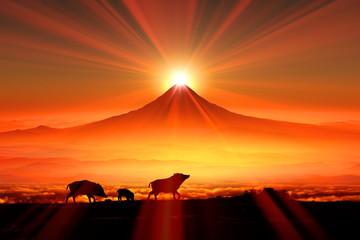 富士山の日の出とイノシシのシルエット